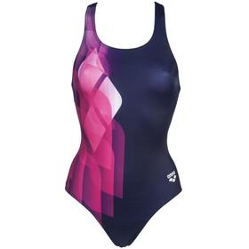 arena Mirrors Swim Pro Back Traje Baño Una Pieza Mujer, azul/rosa